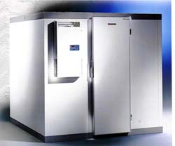 Walk-in cooler with self-contained refrigeration system.