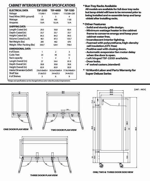 Solid Door Freezer, 3 Swing Door, TSF-72SD, Stainless Steel