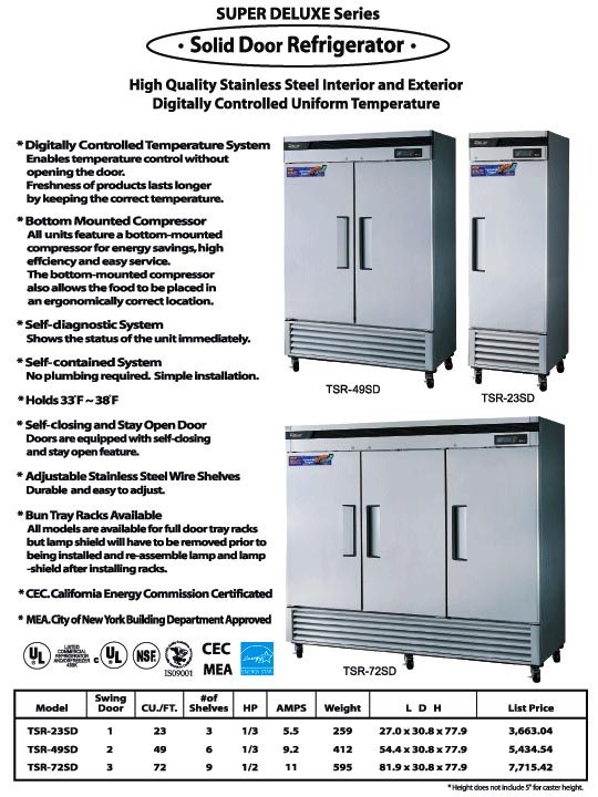 Solid Door Refrigerator, 3 swing doors, TSR-72SD, stainless steel