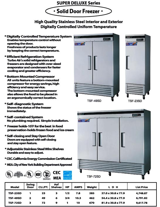 Solid Door Freezer, 2 swing doors, TSF-49SD, stainless steel