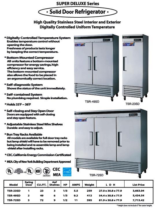 Solid Door Refrigerator, 2 swing doors, TSR-49SD, stailess steel.