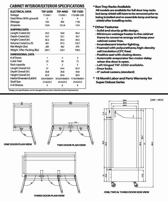 Solid Door Freezer, 1 swing door, TSF-23SD, Stainless Steel