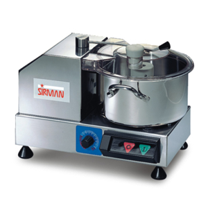 Stainless steel AISI 304 construction; the motor and the bowl are placed side by side.