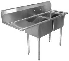 Two Compartment Sinks, (One Drainboard)