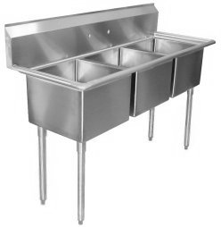 Three Compartment Sinks, (No Drainboards)
