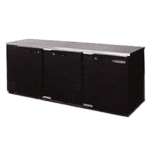 "Back Bar Cooler, Remote, 3 Door, 72"" Wide, Black, Galvanized Top"